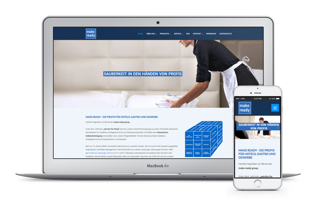 Webdesign für make ready – Gebäudereinigung | Housekeeping | Stewarding